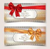 Tarjetas de regalo elegante con el patrón y cintas — Vector de stock