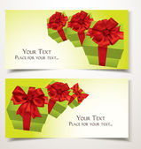 Elegant gift cards with white green boxes and red bows — Stockvector