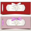 Fabric textile gift cards with silk ribbons — Imagen vectorial