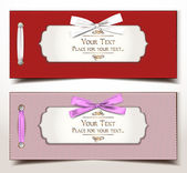 Fabric textile gift cards with silk ribbons — Vetorial Stock