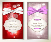 Holiday cards with silk ribbons — 图库矢量图片