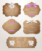 Vintage gift cards with ribbons — Stock Vector