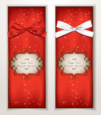 Holiday red banners with silk ribbons — Stock Vector