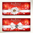 Christmas and New Year red banners with white ribbons — Imagen vectorial