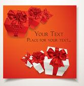 Tarjeta de regalo rojo elegante con las cajas de regalo y moños rojos — Vector de stock