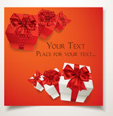 优雅红色礼品卡礼品盒和红色蝴蝶结 — 图库矢量图片