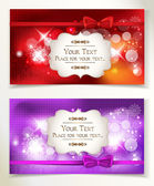 Red and violet banners with silk ribbons — Stock Vector