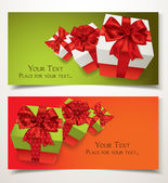 Elegant gift banners with gift boxes and red bows — Stock Vector