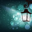 Winter background with lantern — Vector de stock #16513249