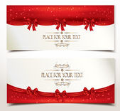 Holiday banners with red silk bows — Stock Vector