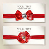 Holiday banners with red silk ribbons — Stock Vector