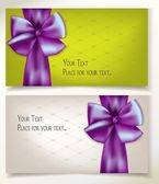 Holiday banners with violet silk ribbon — Stock Vector