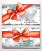 Holiday shiny cards with red bows and place for text — Stock Vector