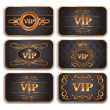 Vector de stock : Set of VIP gold cards with floral pattern