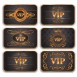 Stock vektor: Set of VIP gold cards with floral pattern