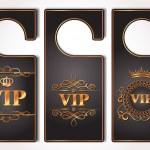 Set of VIP gold door tags — Stock Vector