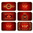 Stock Vector: Set of VIP gold red cards with floral pattern
