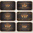 Set of gold VIP cards with floral pattern — Stock Vector