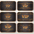 Stock Vector: Set of gold VIP cards with floral pattern