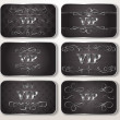 Stok Vektör: Set of silver VIP cards with floral pattern