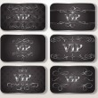 Set of silver VIP cards with floral pattern — Stok Vektör #17350151