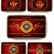 Stock Vector: Set of Vip gold cards on red background