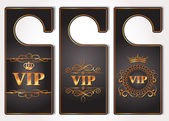 Set of VIP gold door tags — Stock Vector