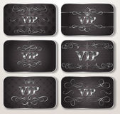 Set of silver VIP cards with floral pattern — Stok Vektör