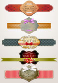 Set of vector retro old paper textures and vintage labels — Stock Vector