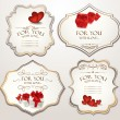 图库矢量图片: Elegant holiday cards with hearts and gift boxes