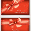 Holiday red cards with silk banners — 图库矢量图片