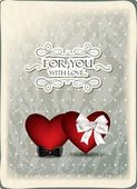 Vintage holiday background with hearts — Stock Vector