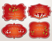 Elegant holiday red cards with hearts and gift boxes — ストックベクタ