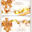 Stock Vector: Elegant cards with silk gold ribbons