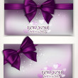 Holiday shiny elegant cards with silk bows and place for text — Stock Vector