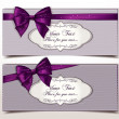 Stock Vector: Fabric textile gift cards with silk violet ribbons