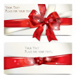 Shinny holiday card with red ribbon and bow — Vettoriali Stock