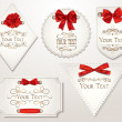 Elegant holiday cards with red silk ribbons — Stok Vektör