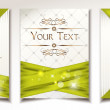 Set of cards with green bows and ribbons in vector — Stockvektor