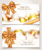 Elegant cards with silk gold ribbons — Stock Vector