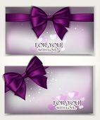 Holiday shiny elegant cards with silk bows and place for text — Stok Vektör
