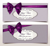 Fabric textile gift cards with silk violet ribbons — Vector de stock