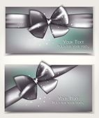 Holiday shiny cards with silver bows and place for text — Stock Vector