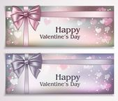Happy Valentines Day banners with ribbons and hearts — Stock Vector
