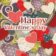 图库矢量图片: Valentine's Day card with different hearts