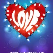 Holiday card with heart shaped garland on the blue background — Stockvectorbeeld