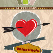 Vintage retro valentines day holiday card — Stock Vector