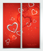 Holiday red banners with hearts — Stock Vector