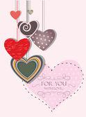 Vintage liefde kaart met hangende harten — Stockvector