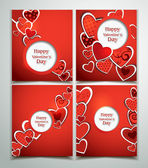 Set of holiday red cards with hearts — Stock Vector